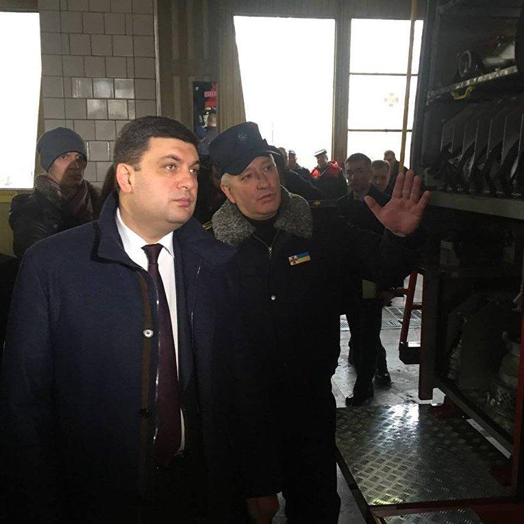 Визит Гройсмана в пожарную часть №13 в Киеве