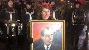 Факельное шествие в честь дня рождения Бандеры в Киеве