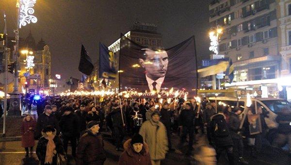 Факельное шествие в честь дня рождения Степана Бандеры в Киеве. Архивное фото