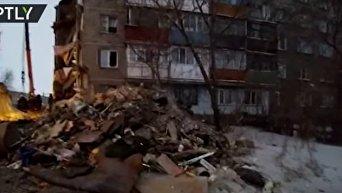 Обрушение жилого дома в Казахстане. Видео