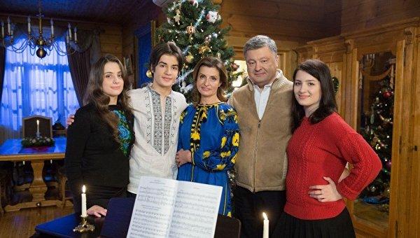 Президент Украины Петр Порошенко с семьей