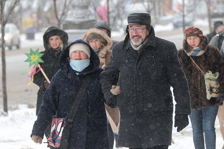 Киевляне прячутся от мороза