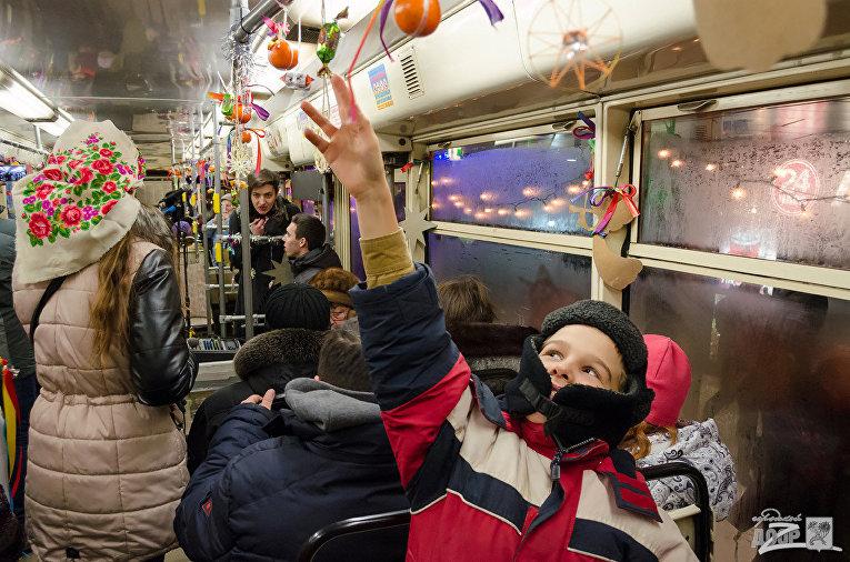 Рождественский трамвай в Харькове