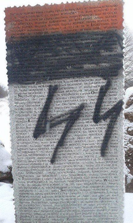 Разрушение памятника погибшим полякам в Гуте Пеняцкой