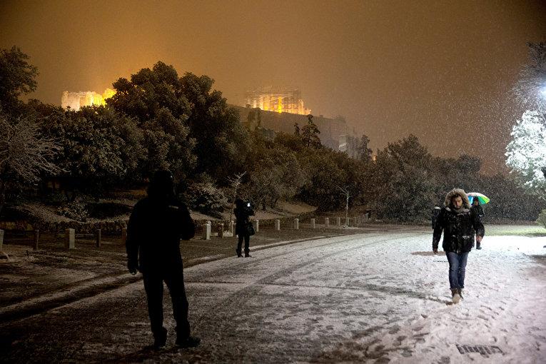 Снегопад в Греции