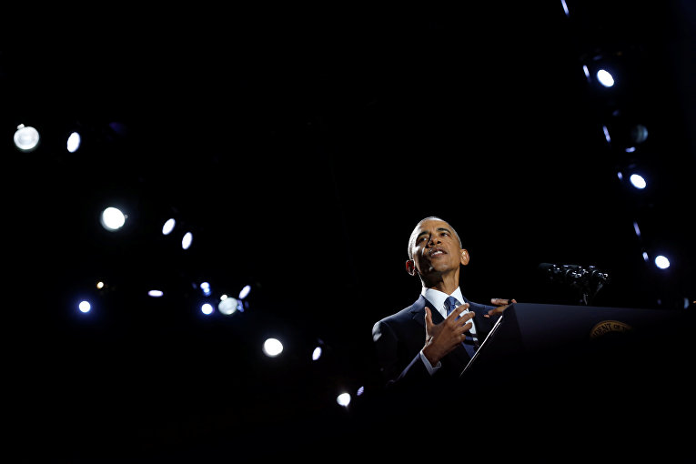 Барак Обама во время прощальной речи