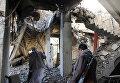 Разрушенное авиаударами здание в северо-западной части города Саада, Йемен
