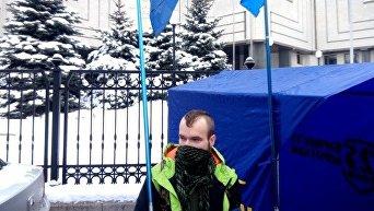 Украинские националисты в ходе акции протеста в Киеве требовали отмены языкового закона