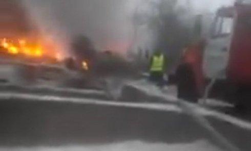 Первые кадры с места крушения турецкого самолета под Бишкеком. Видео