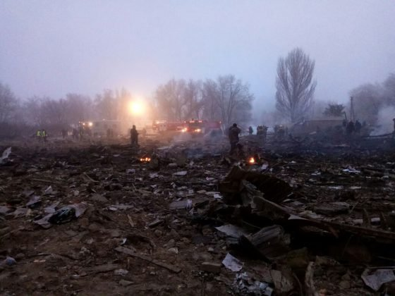 На месте крушения самолета Boeing 747-400 под Бишкеком