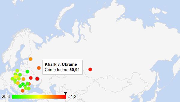 Харьков признали одним изсамых уголовных городов Европы