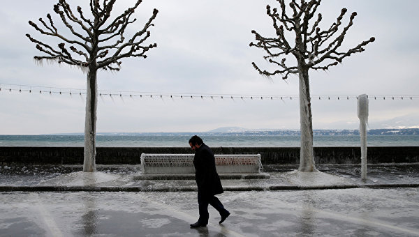 Последствия морозной погоды в Швейцарии. Архивное фото