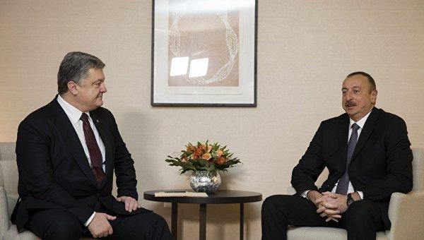 Петр Порошенко и Ильхам Алиев в Давосе