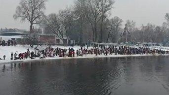 Крещенские купания в Киеве. Съемка квадрокоптером