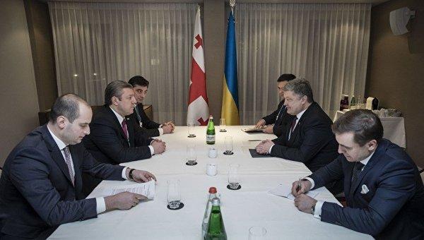 Президент Украины Петр Порошенко на переговорах с премьером Грузии Георгием Квирикашвили