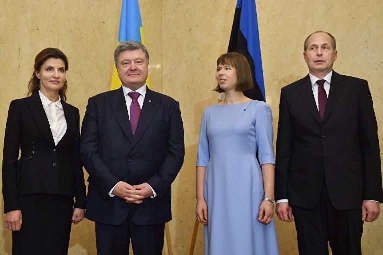 Петр Порошенко и президент Эстонии Керсти Кальюлайд с супругами