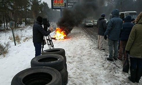 Въезд в Киев со стороны Броваров, массовые протесты и горящие шины