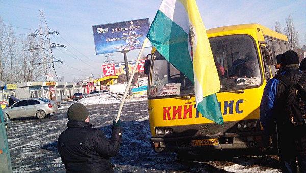 Под Киевом перекрыли дорогу из-за подорожания проезда вмаршрутках