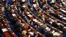 Делегаты в зале на пленарном заседании зимней сессии ПАСЕ. Архивное фото