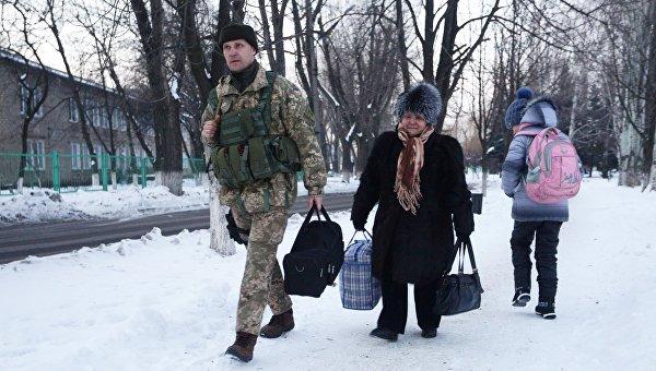 Переселенцы в Авдеевке, Донбасс. Архивное фото