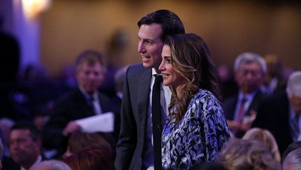 Зять и советник президента Дональда Трампа Джаред Кушнер с королевой Иордании Ранией