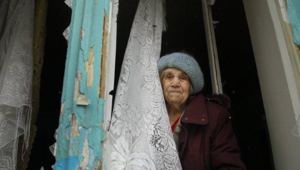 Пенсионерка в Донбассе. Архивное фото