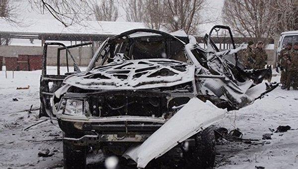 На месте подрыва авто в Луганске