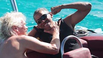 Обама осваивает кайтсерфинг с миллиардером Брэнсоном