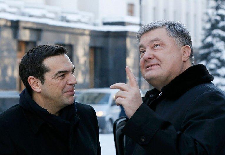Президент Украины Петр Порошенко на встрече с премьер-министром Греции Алексисом Ципрасом в Киеве