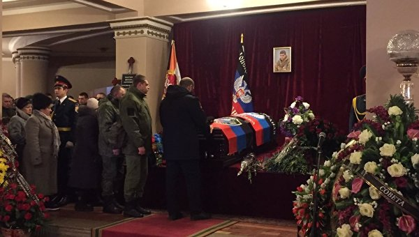 Церемония прощания с ополченцем самопровозглашенной ДНР Михаилом Толстых Гиви