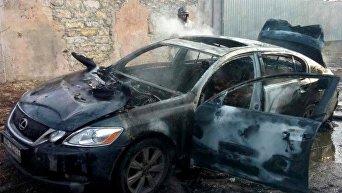 Сожженный Lexus в Одессе