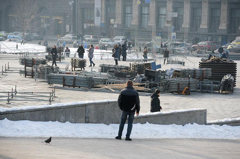 Подготовка к годовщине Майдана в Киеве