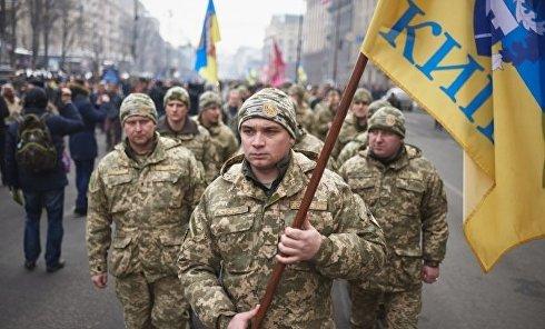 Памятное шествие участников битвы за Дебальцево в Киеве