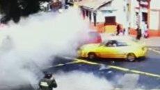 Момент взрыва в центре Боготы. Видео