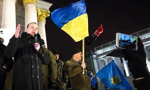 Митинг на Майдане в поддержку торговой блокады Донбасса