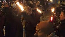 Факельное шествие на Майдане Незалежности в память Героев Небесной сотни. Видео