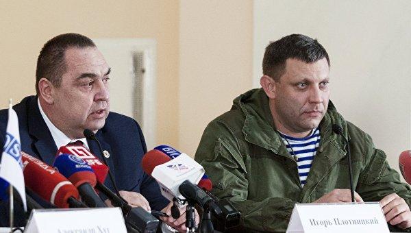 Глава Донецкой народной республики Александр Захарченко (справа) и глава Луганской народной республики Игорь Плотницкий