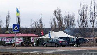 Блокпост участников блокады на трассе Донецк-Мариуполь