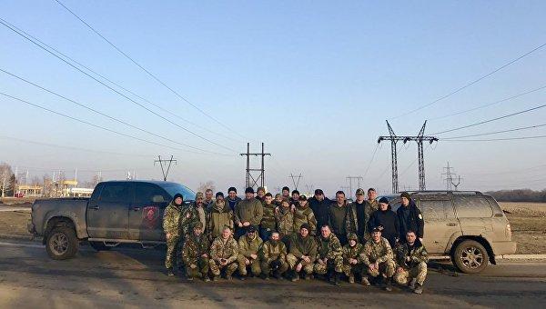 Пост блокады на трассе Курахово-Марьинка