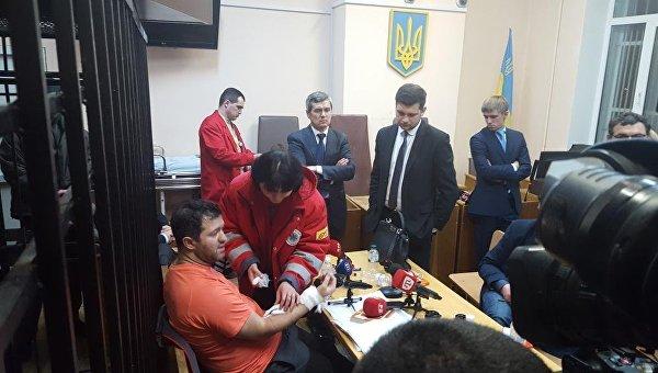 Роман Насиров во время заседания суда по избранию ему меры пресечения