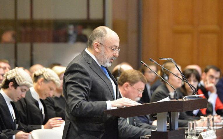 Директор правового департамента МИД РФ Роман Колодкин в Международном суде ООН в Гааге