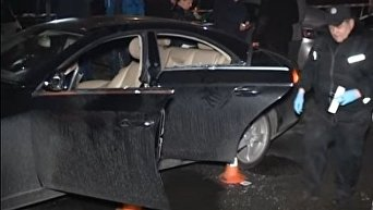 Кадры с места убийства бизнесмена в Киеве. Видео