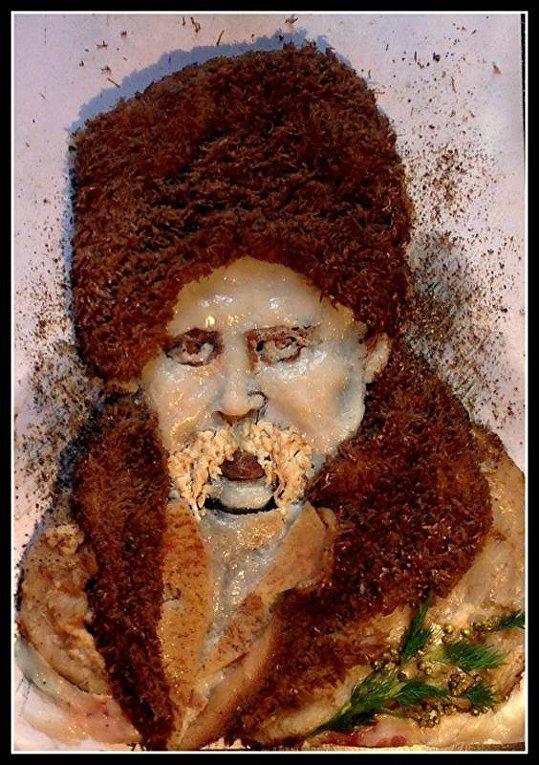 Портрет Тараса Шевченко из сала и мяса