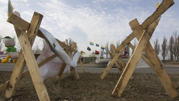 Участники блокады Донбасса, один из редутов. Архивное фото