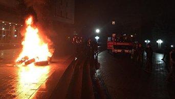 Активисты зажгли шины под Ивано-Франковской ОГА