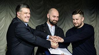 Лидеры Всеукраинского объединения Свобода, Национального корпуса и Правого сектора подписали Национальный манифест