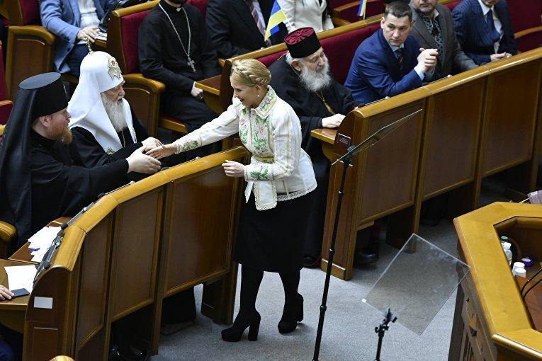 Лидер фракции Батькивщина Юлия Тимошенко во время заседания Верховной Рады Украины