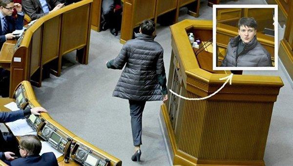 Надежда Савченко пришла в сессионный зал Верховной Рады в пуховике и туфлях на каблуках