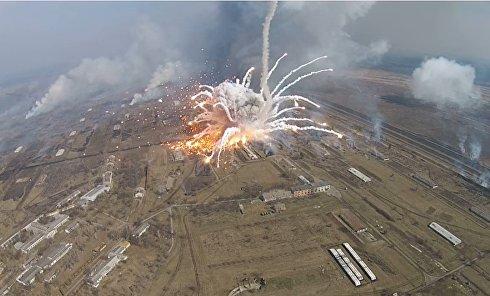 Взрывы в Балаклее снятые дроном