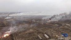 Аэросъемка пожара склада боеприпасов в Харьковской области